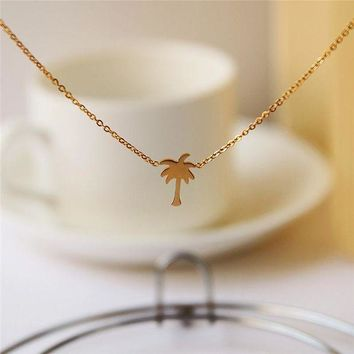 VONEZ9R Boho Choker Gold Palm Tree Necklace Pendant Collier Femme Stainless Steel Chain Necklace For Women Island Life Bff Jewelry