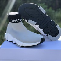 [ Free  Shipping ] Balenciaga   Sock Sneakers Grey Running Sneaker