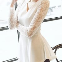 V-neck Long Sleeve Chiffon Peplum Top with Crochet Lace Accent