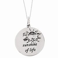 Sterling Silver Antiqued Cz Friends Are The Sunshine 18in Necklace, Best Quality Free Gift Box Satisfaction Guaranteed