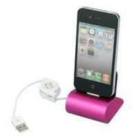 Pink USB Aluminum Charger Cradle Dock Station Stand for iPhone 4 4G 4S