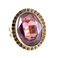 Amethyst Glass Gold Filled Statement Ring