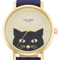 Women's kate spade new york 'novelty metro' cat dial leather strap watch, 35mm - Navy