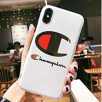 Champion Fashion New Letter Logo Print Women Men Phone Case Protective Cover White