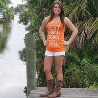 Just a Small Town Girl Orange and White Tank Top