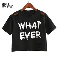 Women Sweet Crop Top Holes T Shirt Hip Hop Letter Print Casual O Neck Tees Ladies Fashion Black Cute Streetwear Tops Camisetas