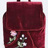 Embroidered Velour Backpack