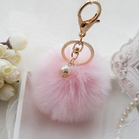 New Fashion Fluffy Fur Ball Pompom Key Chain Cute Keychains Rabbit Fur Ball Pom PomKeychain For Car Key Ring Holder for BagQC07