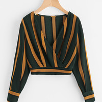 V Neckline Striped Surplice Crop Top -SheIn(Sheinside)