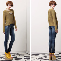 Long-Sleeve Asymmetrical Pullover Knitted Shirt