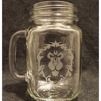 WoW Alliance Mason Jar or Pint Glass