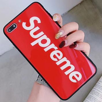Supreme personalized street brand mirror letter iPhone X mobile phone case cover Red