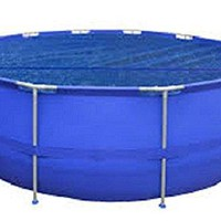 By PoolCentral 8.9' Blue Round Floating Solar Cover for Steel Frame Swimming Pool