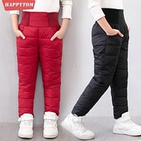 Casual Girl Boy Winter Pants Cotton Padded Thick Warm Trousers Waterproof Ski Pants 9 Years Elastic High Waisted Baby Kid Pant