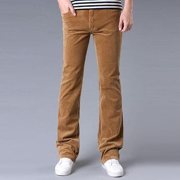 Spring Autumn Mens Fashion Flared Corduroy Trousers Men Plus Size Casual Bell Bottom Pants Black Red Brown Khaki Size 34 36