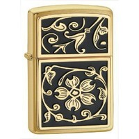 Zippo Gold Floral Flush Emblem Lighter