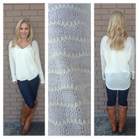 Ivory V-Neck Knit Sweater Top