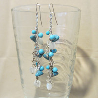 Turquoise Beaded & White Mother of Pearl Heart Silver Chain Dangle Earrings, Handmade, Fashion Jewelry, Beach Inspired, Summer Colors, Cute