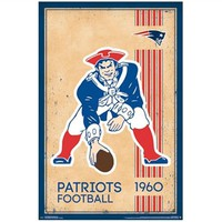 Retro New England (Boston) Patriots 1960 Logo Poster Shop For College Decorations Dorm Wall Posters