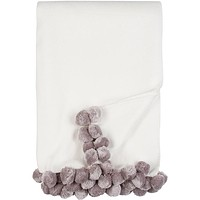 Luxxe Pom Pom Throw in Ivory and Dove