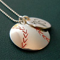 Solid Sterling Silver Softball, Baseball Custom Made Hand Stamped Personalized Sports Necklace with Ball and Number