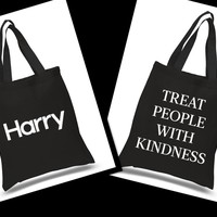 Harry Styles - Harry Logo / Treat People With Kindness BACK Tote Bag