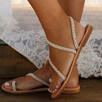 New style all over toe sandals women flat sandals with rhinestones large size beach shoes
