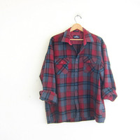 Vintage Plaid Flannel / Grunge Shirt / Boyfriend shirt / red and gray flannel / Tomboy shirt
