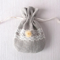 12 x 8 cm Small linen drawstring pouch with ivory lace and rose Grey pure linen wedding favor bag