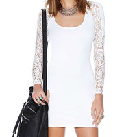 White Lace Long Sleeves Bodycon Mini Dress