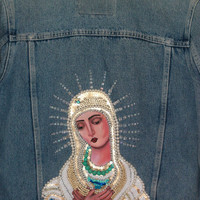 Vintage denim jacket - Virgin Mary sequins and beads embroidery handmade