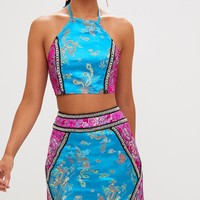 Premium Blue Jacquard Embellished Mini Skirt