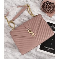 Women Leather Metal Chain Crossbody Satchel Shoulder Bag Pink