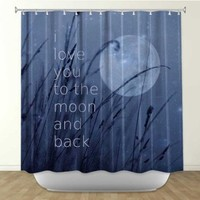 DiaNoche Designs Shower Curtains by Arist Monika Strigel Unique, Cool, Fun, Funky, Stylish, Decorative Home Decor and Bathroom Ideas - Love You to the Moon
