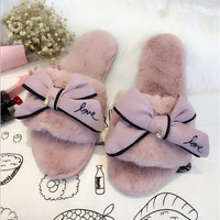 famous brand fur flip flops sweet lace bow fur slides women designer winter sandals warm and cozy home slippers with flower