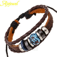 Ajojewel Brand Fashion Design Jewelry Adjustable Pink and Blue Beads Braided Leather Bracelets For Women and Men