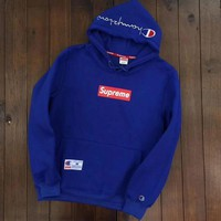Champion X Supreme Trending Women Men Loose Embroidery Long Sleeve Top Sweater Pullover Hoodie Blue