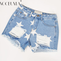 Voobuyla New Destroyed Hole Stars Print Jeans Shorts Womens Denim Shorts 2017 New Ripped Ladies Straight Short Jeans Female