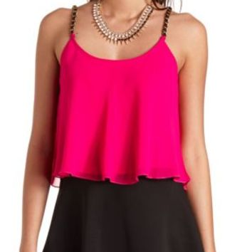 Faux Leather & Chain Strap Swing Crop Top by Charlotte Russe - Pink