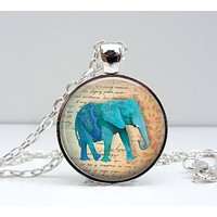 Elephant Necklace - Blue Elephant - Elephant Jewelry