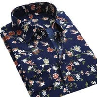 Men's Shirts Summer Casual Long Sleeve Printed Male Business