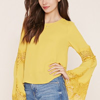 Contemporary Lace-Paneled Top | LOVE21 - 2000151323