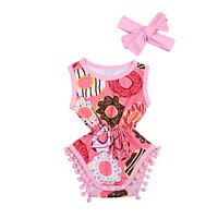 Summer 2pcs born Infant Baby Girl Donuts Romper Sleeveless Tassel Jumpsuit Clothes Outfit Sun-suit Set