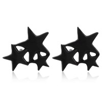 Fashion Earring Jewelry Matte Three Linked Star Men Teens Stud Earrings for Women Cute Star Pendients Party Gifts brincos