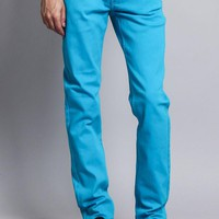 Men's Skinny Fit Colored Jeans (Turquoise)