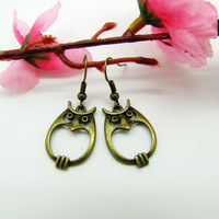 ancient vintage style earrings, bronze owl earrings,unique earrings,high-quality earrings  EH26