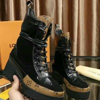 LV Louis Vuitton Women Fashion Boots Shoes Martin Boots