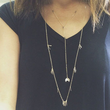 Gold Necklace, 14k Gold Filled Necklace, Gold Charm Necklace, Long Necklace, Spike Necklace, Boho Necklace, Boho Chic Jewelry