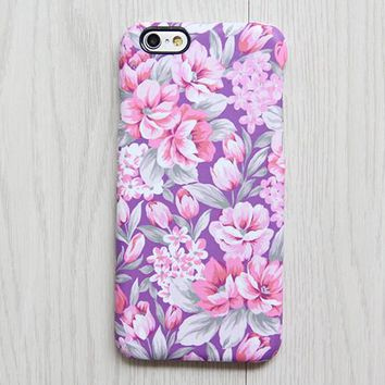 Classy Violet Pink Floral iPhone XR case iPhone XS Max plus Ethnic  SE  Case Samsung Galaxy S8 S6  Case 080