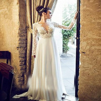 MZMSRHS Elegan Beach Backless Wedding Dress 2017 New Deep V Neck Chest Long Sleeve Appliques Lace Bridal Marry Gowns
